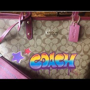 COACH Bucket Style GRAFFITI Purple Glitter!⭐️🌈